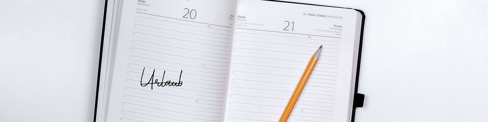 Kalender mit dem Wort